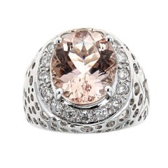4.47 Carat Morganite and 0.70 Carat Diamond Solitaire Ring 14 Karat White Gold