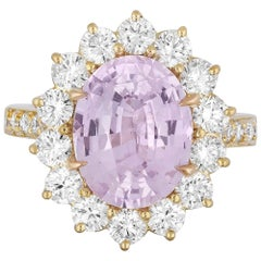 4.47 Carat Pastel Pink Sapphire Diamond Cocktail Ring