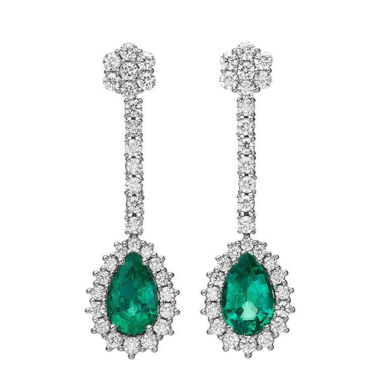 4.47 Carat Pear Shape Emerald Diamond  Earrings