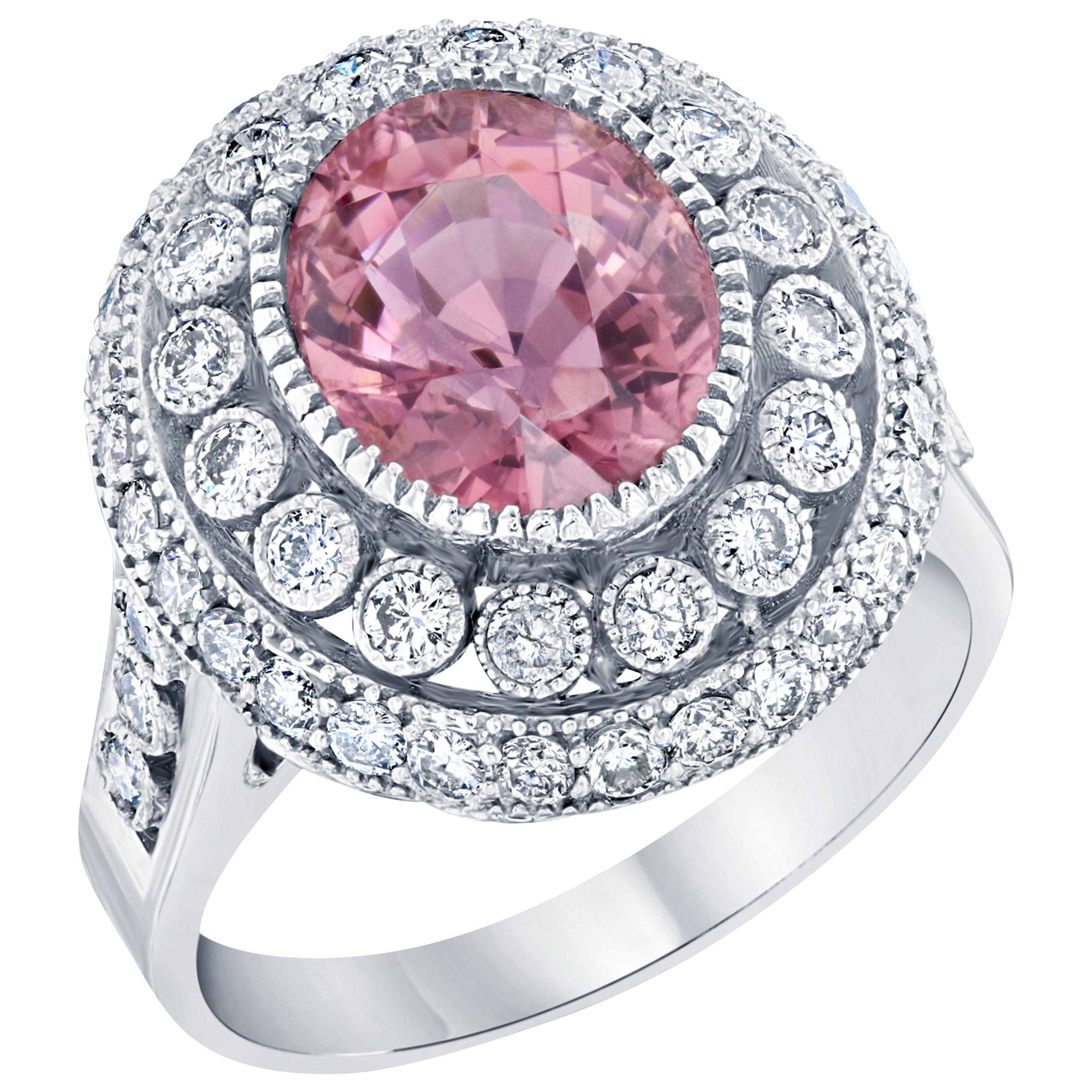 4.47 Carat Pink Tourmaline Diamond White Gold Cocktail Ring