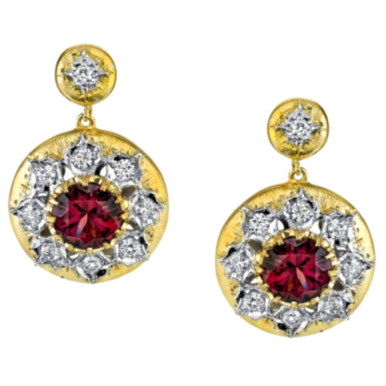 4.47 ct. t.w. Rhodolite Garnet Diamond Two-Toned Florentine Dangle Drop Earrings