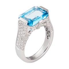 4.48 Carat Blue Topaz Diamond 18 Karat White Gold Cocktail Ring