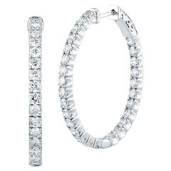 4.48 Carat Diamonds 18 Karat Gold Hoop Earrings