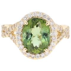 4.48 Carat Green Tourmaline and Diamond Ring 14 Karat Yellow Gold Bridal Ring