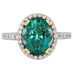 4.48 Carat Green Tourmaline Diamond Cocktail Ring