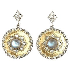 4.48 ct. t.w. Moonstone & Diamond 18k Italian Florentine Dangle Drop Earrings