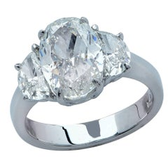 3.32 Carat Oval Cut Diamond Engagement Ring