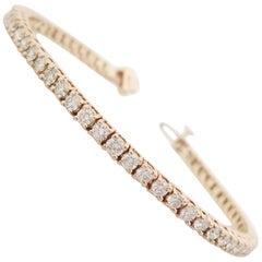 4.48 Carat Round Brilliant Natural Diamond Tennis Bracelet 14 Karat Rose Gold