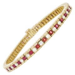 4.48 Carat Ruby and Diamond Tennis Bracelet in 14 Karat Yellow Gold