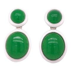 44.8 Kt Natural Green Jade White Hand Enameled Sterling Silver Earrings
