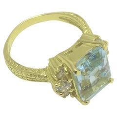 4.49 Carat Aquamarine and Diamond Statement Ring
