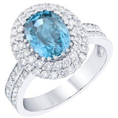 4.49 Carat Blue Zircon Diamond 14 Karat White Gold Ring