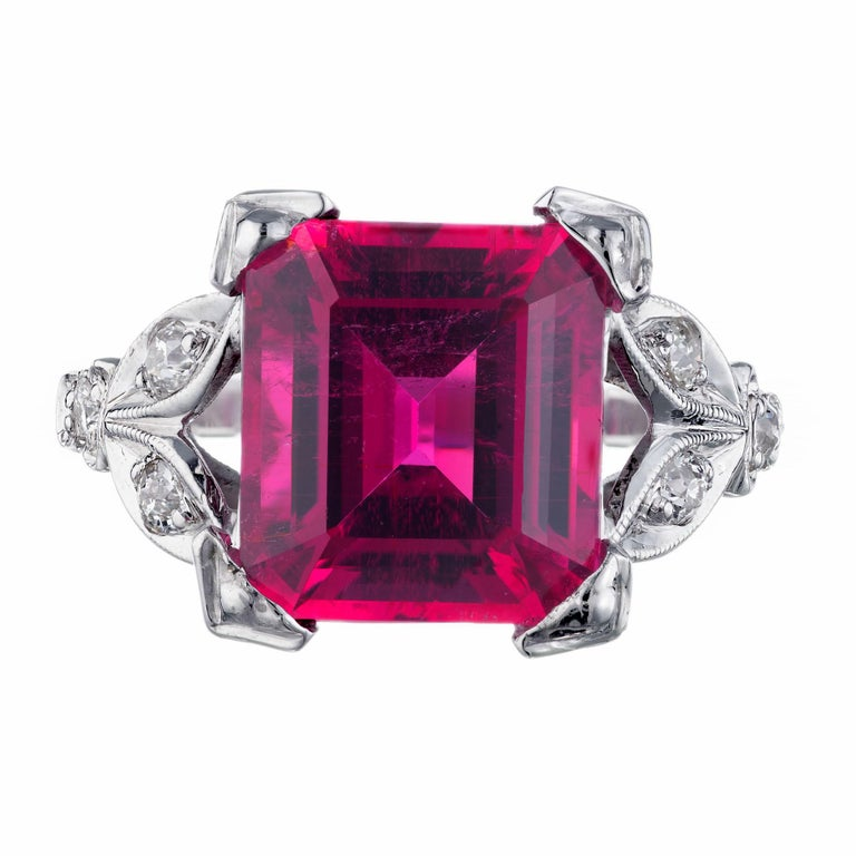 Round Cut 4.49 Carat Red Rubelite Tourmaline Diamond Platinum Ring For Sale