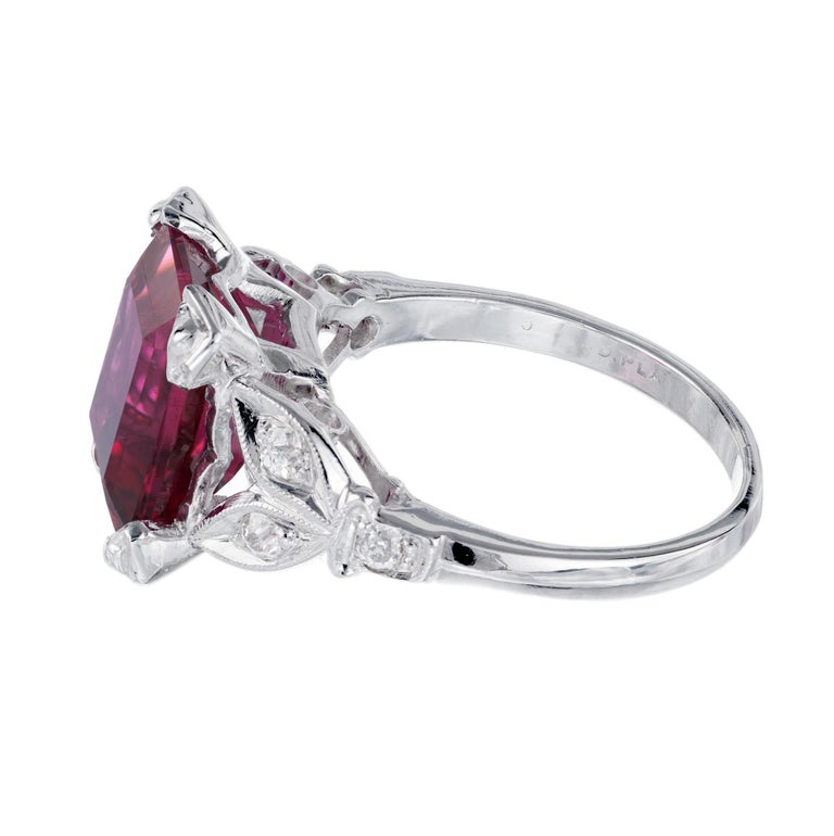 4.49 Carat Red Rubelite Tourmaline Diamond Platinum Ring In Excellent Condition For Sale In Stamford, CT