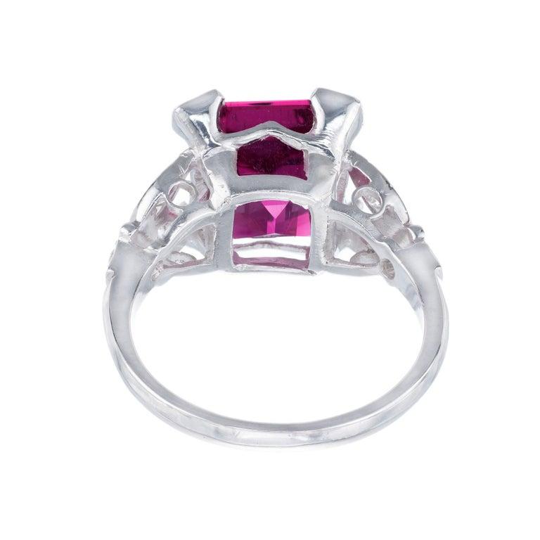 Women's 4.49 Carat Red Rubelite Tourmaline Diamond Platinum Ring For Sale