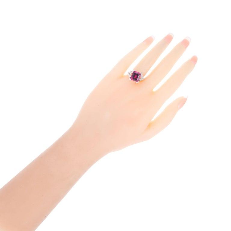 4.49 Carat Red Rubelite Tourmaline Diamond Platinum Ring For Sale 2