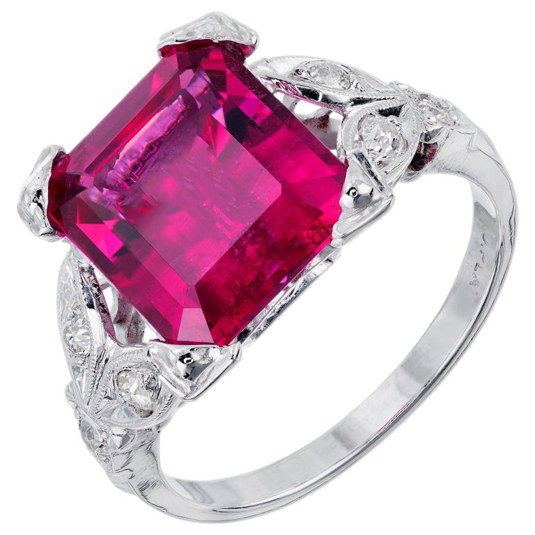 4.49 Carat Red Rubelite Tourmaline Diamond Platinum Ring For Sale
