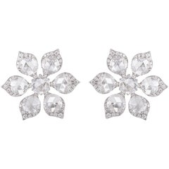4.49 carats Rose Cut Diamond Earrings Studs