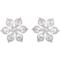 Rarever 18K White Gold 4.49 Carat Rose Cut Diamond Earrings Studs
