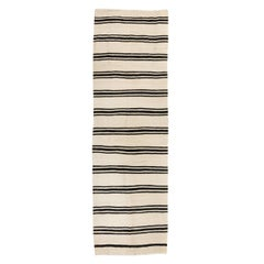 4.4x14 Ft Striped Vintage Kilim Runner. 100% Natural Wool Hallway Rug.