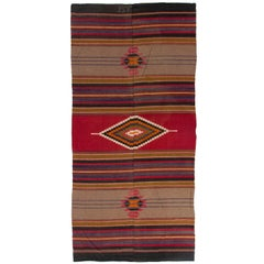 Vintage Hand-Woven Nomadic Turkish Kilim, Wool Flat-Weave Rug