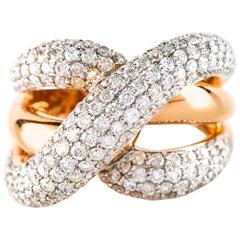 4.5 Carat, 14 Karat Rose Gold Diamond Crossover Ring