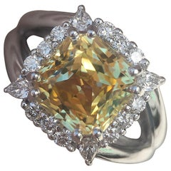 4.5 Carat Approximate, Cushion Yellow Sapphire and Diamond Pave Ring, Ben Dannie