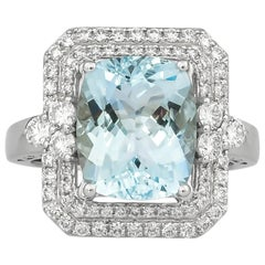 4.5 Carat Aquamarine and Diamond Ring in 18 Karat White Gold