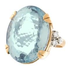 45 Carat Aquamarine-Set Gold Ring