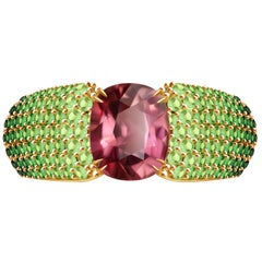 "4.5 Carat ""Autumn"" Tourmaline and Tsavorite 14 Karat Yellow Gold Ring"