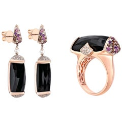 45 Carat Black Onyx Ring and Earring Set in 18 Karat Rose Gold with Diamonds