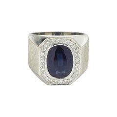 4.5 Carat Blue Sapphire and Diamonds Silver Signet-Ring