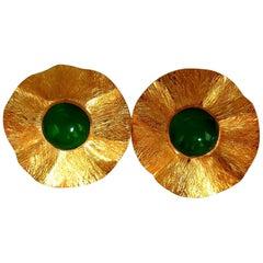 45 Carat Cabochon Jade Clip Earrings 14 Karat Circular Graver Petal