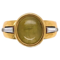 4.5 Carat Cat's Eye Men's Signet Gold Ring Estate Fine Jewelry