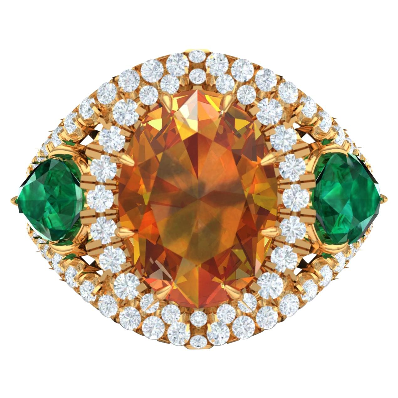 4.5 Carat Citrine Emerald and Diamond Cocktail Yellow Gold Ring