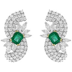 4.5 Carat Colombian Emerald Cut Emerald Diamond Clip Earrings 18 Karat Gold