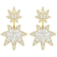 4.5 Carat Diamond 18 Karat Gold Ear Jacket Earrings