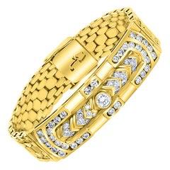 4.5 Carat Diamond Bracelet in 18 Karat Yellow Gold, 62 Grams, Estate, Unisex