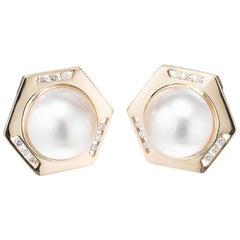 .45 Carat Diamond Mabe Pearl Yellow Gold Earrings