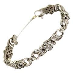 4.5 Carat Diamond White Gold Link Bracelet