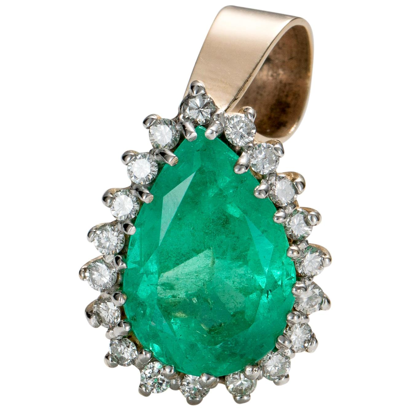 4.5 Carat Emerald and Diamond Pendant, 18 Karat Gold