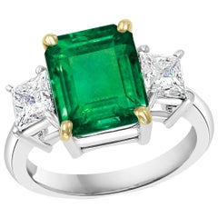 4.5 Carat Emerald Cut Colombian Emerald and 1.4 Carat Diamond 18 Karat Gold Ring