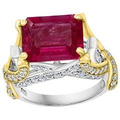 4.5 Carat Emerald Cut Pink Tourmaline and Diamond 18 Karat Gold Two-Tone Ring