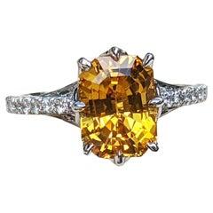 4.5 Carat Emerald Cut Yellow Sapph Diamond Pave' Platinum Ring
