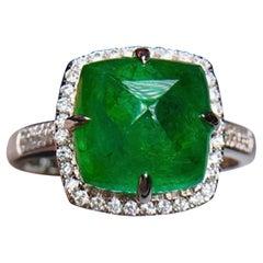 4.5 Carat Emerald Diamond Ring 18 Karat White Gold