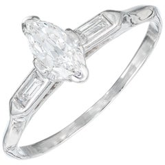 .45 Carat Marquise Diamond Platinum Three-Stone Engagement Ring