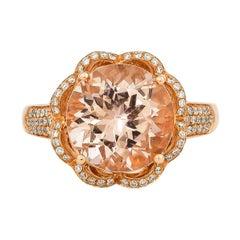 4.5 Carat Morganite and Diamond Ring in 18 Karat Rose Gold