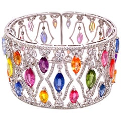 45 Carat Multi-Color Sapphire and Diamond Gold Cuff Bracelet Fine Estate Jewelry