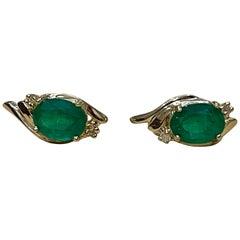 4.5 Carat Oval Natural Emerald and Diamond Stud Post Earrings 14 Karat Gold