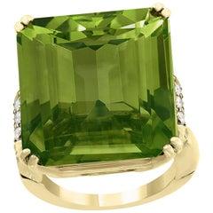 45 Carat Peridot and Diamond 18 Karat Yellow Gold Cocktail Ring Estate